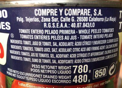 Tomate Celorrio Entero Pelado - Ingredientes