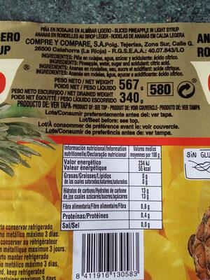 Piña Rodajas En Almíbar Lata 3 / 4 KG - Ingrédients