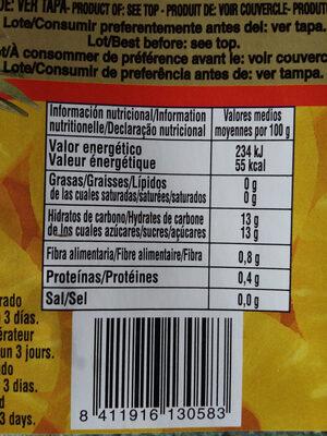Piña Rodajas En Almíbar Lata 3 / 4 KG - Informations nutritionnelles