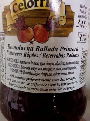 Remolacha Rallada Primera Tarro 1 - Ingrédients - fr