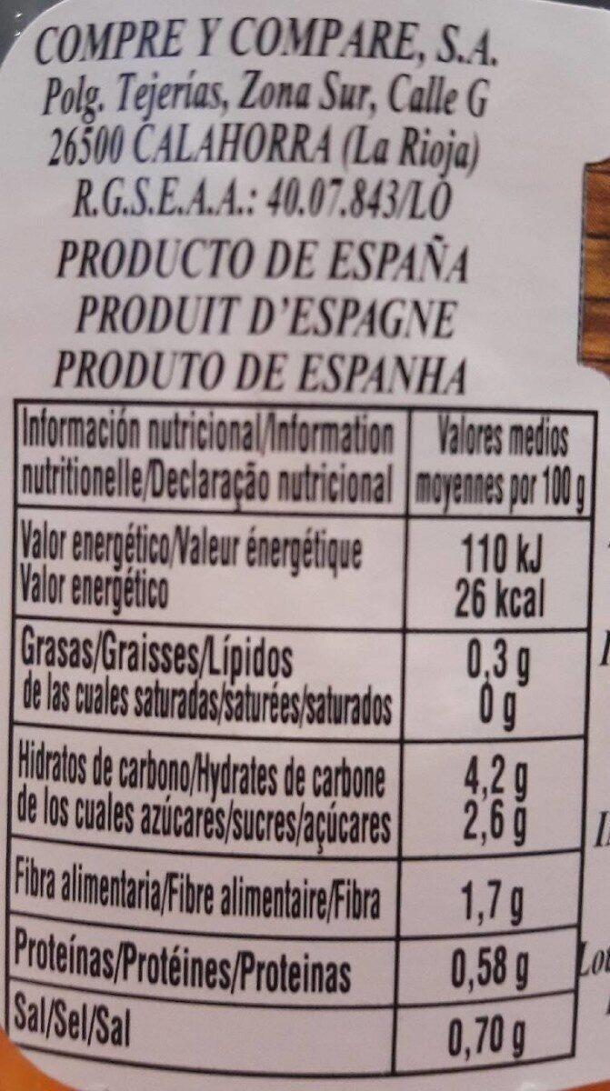 Zanahoria Rallada Primera Tarro - Informations nutritionnelles - fr
