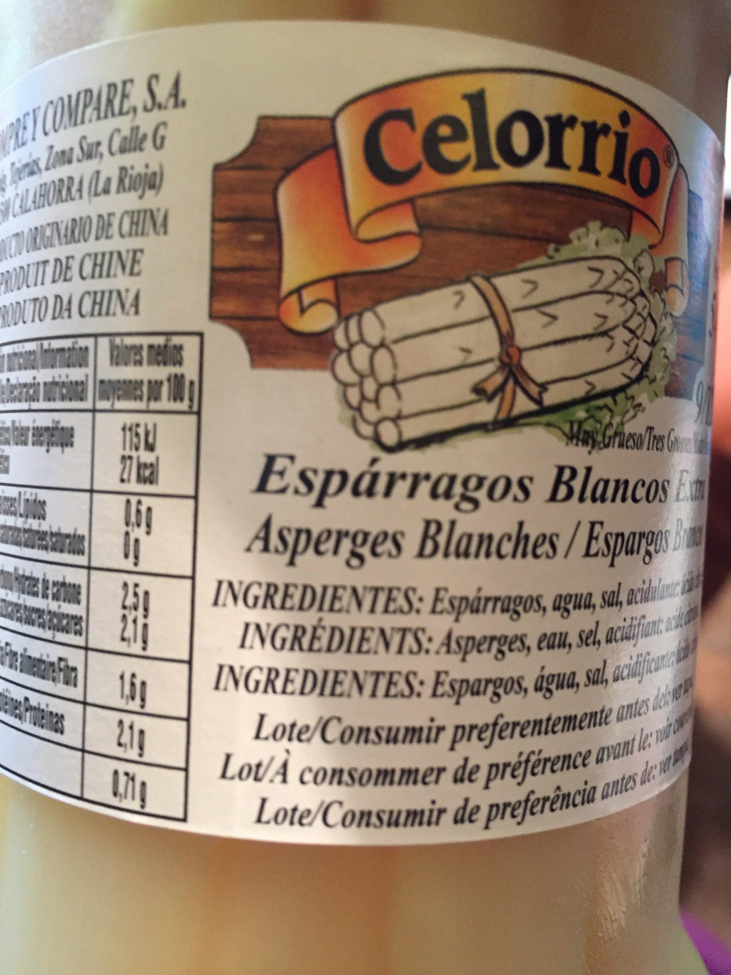 Espárragos Blancos Extra 9 / 12 Tarro - Ingrédients - fr