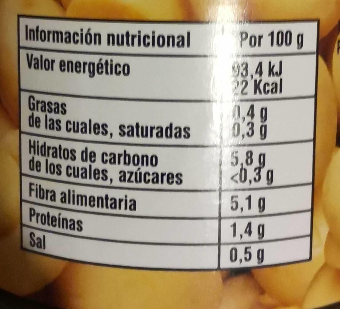 Champiñones Enteros Primera Lata 1 / 2 KG - Informations nutritionnelles - es