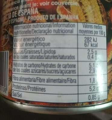 Caracoles en salsa en lata - Informations nutritionnelles - es