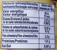 Pomme de terre entiers - Información nutricional
