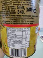 Piña en rodajas en su jugo - Informations nutritionnelles - es