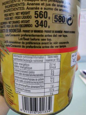 Piña en rodajas en su jugo - Informations nutritionnelles