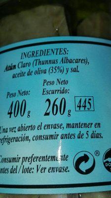 Atun claro en aceite de oliva - Ingredients