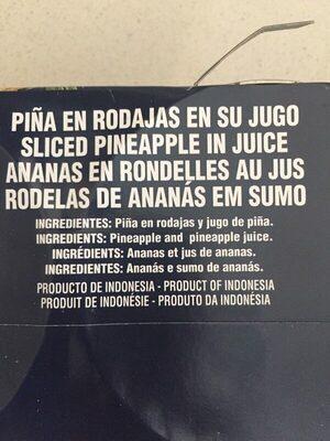 Piña en rodajas en su jugo - Ingredients