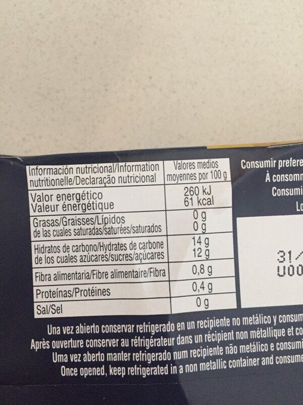 Piña en rodajas en su jugo - Nutrition facts