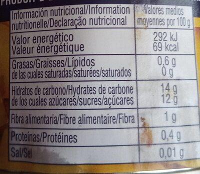 Cocktail de Frutas en Almíbar Ligero - Informations nutritionnelles