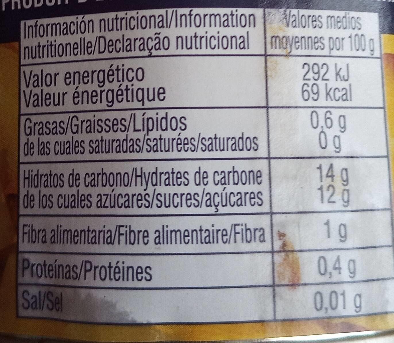 Cocktail de Frutas en Almíbar Ligero - Informations nutritionnelles - es