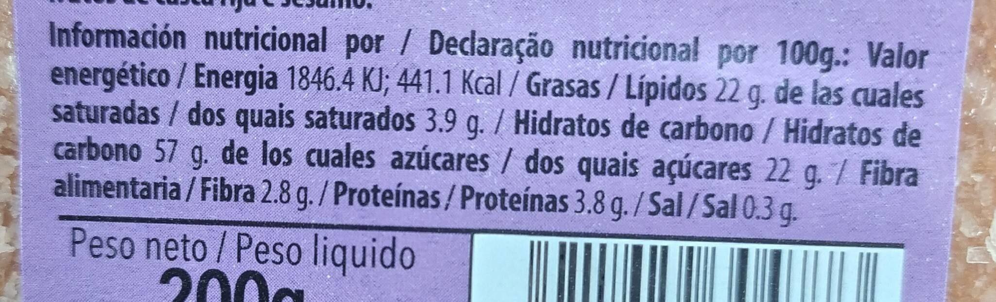 Bizcochito de las monjas MÉNDEZ - Información nutricional