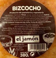 Bizcocho - Información nutricional - es