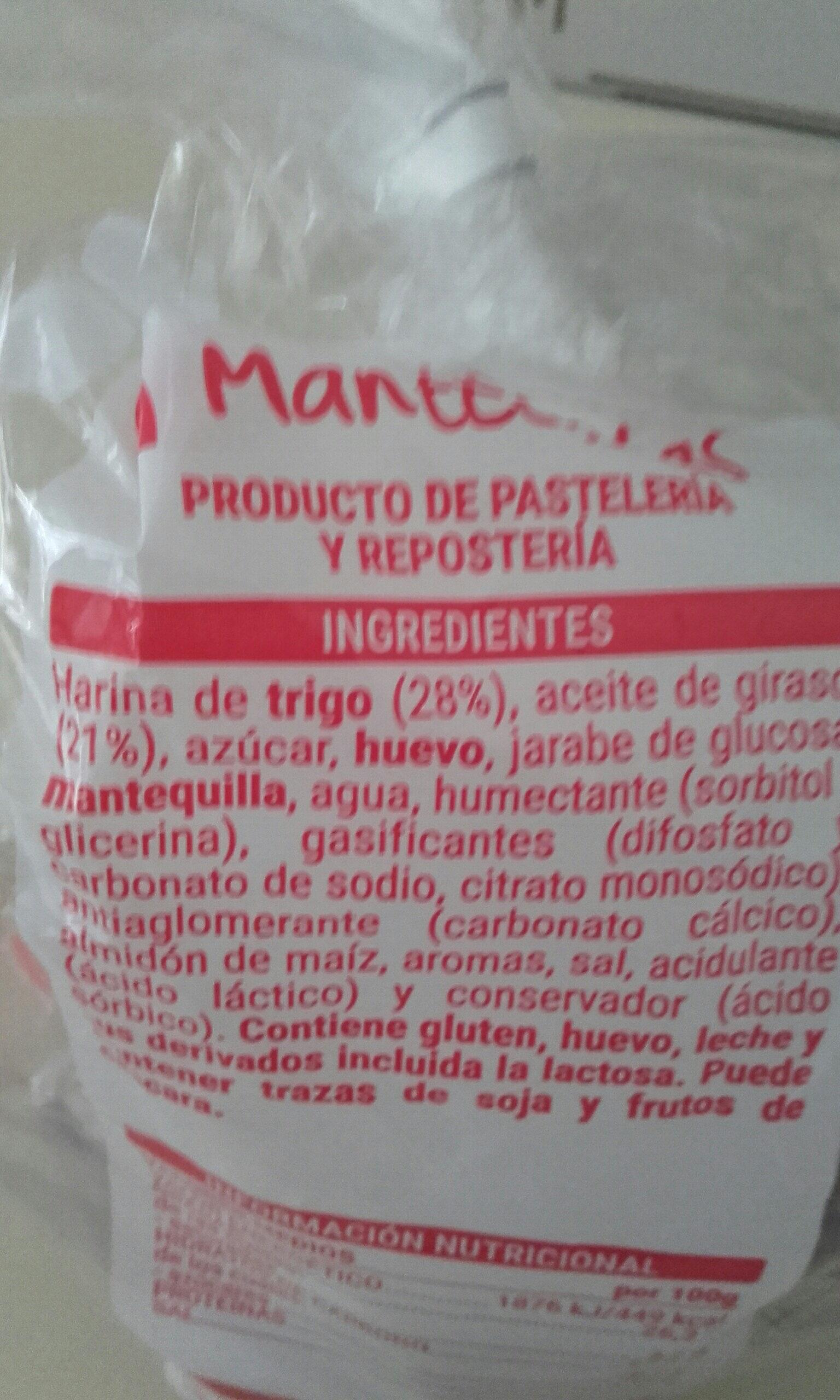 Mantecadas - Ingredients - es