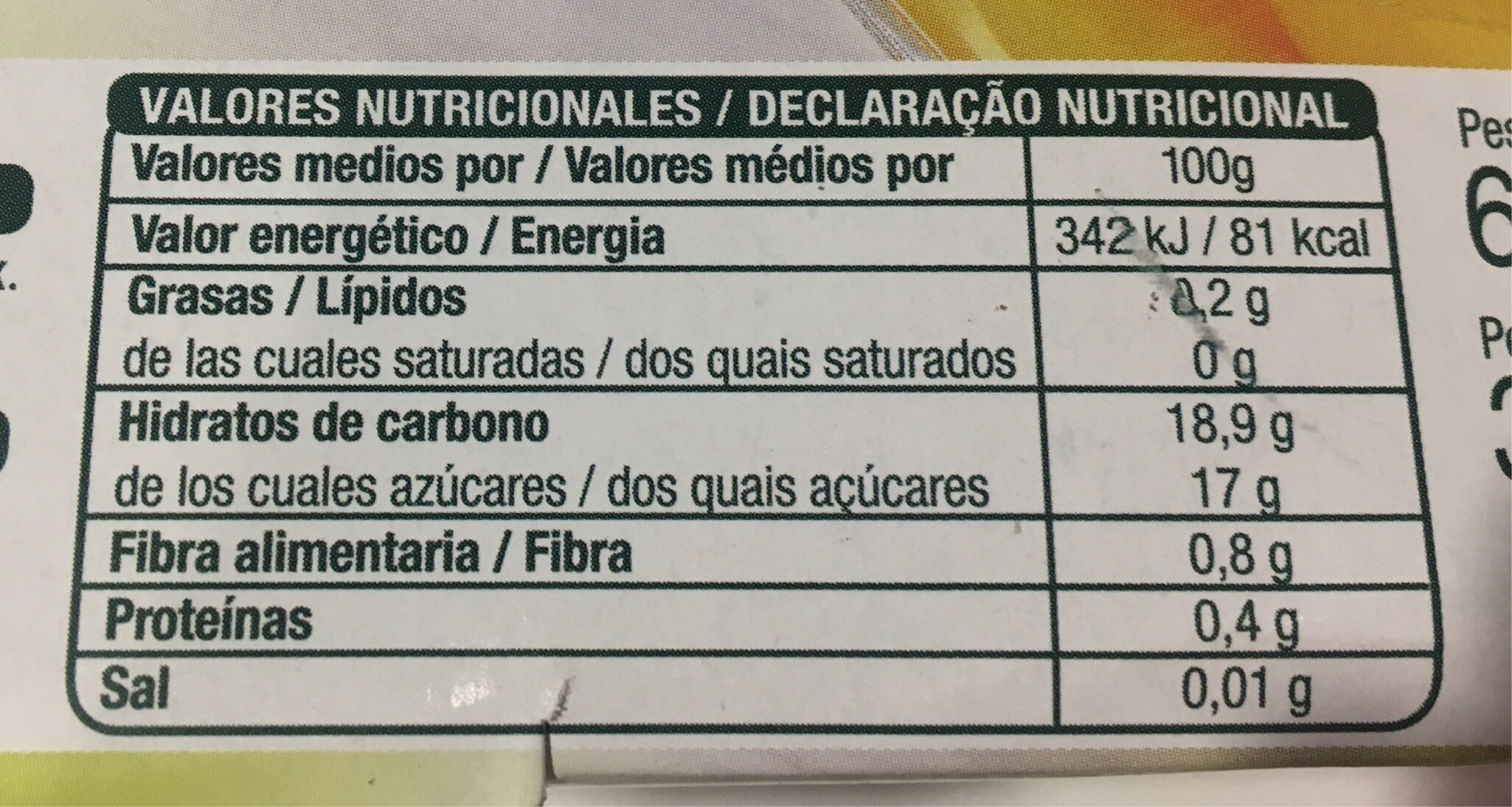Melocotón en almíbar - Informations nutritionnelles - es