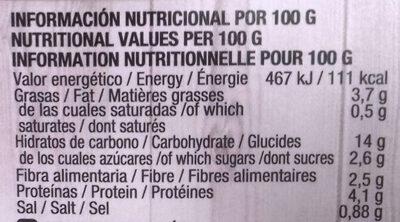 Quinoa ecológica con fritada de hortalizas - Informació nutricional - es