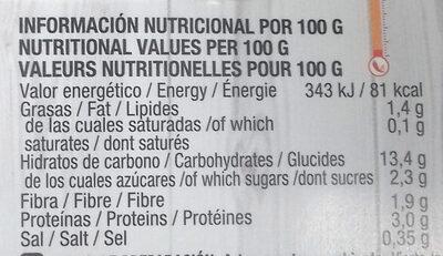 Quinoa ecológica con salsa tropical - Informations nutritionnelles