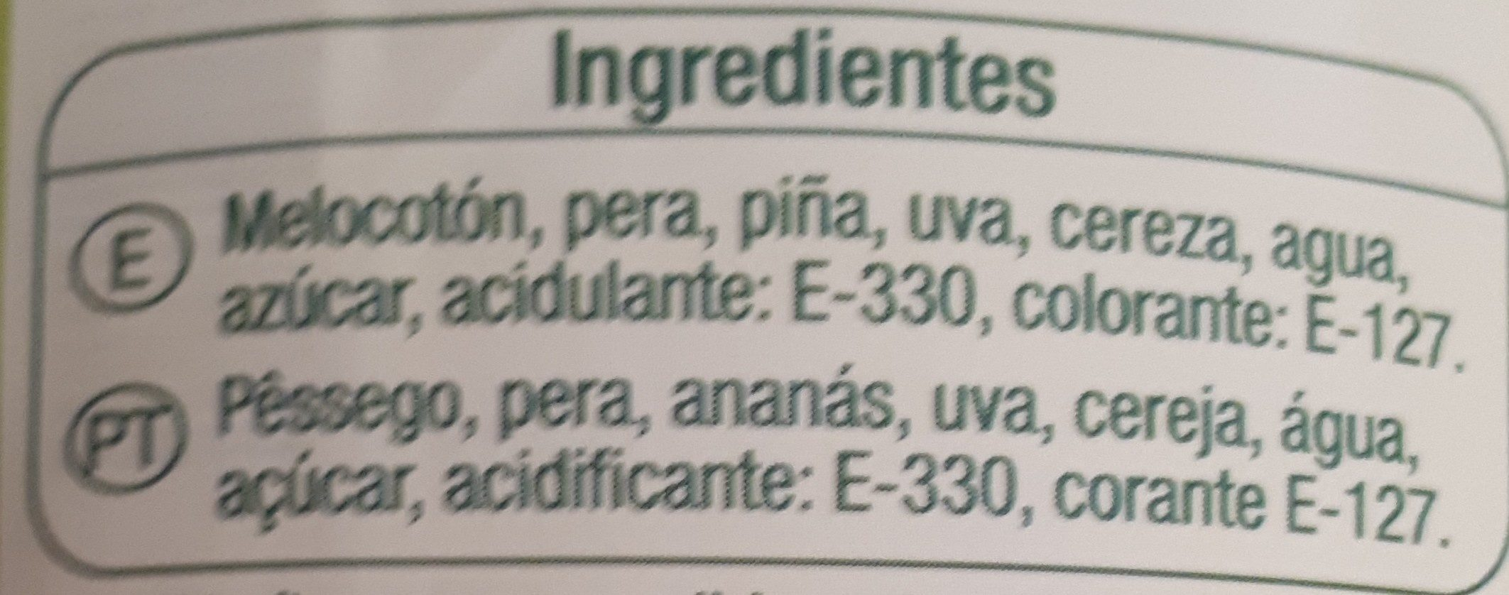 Cocktail de frutas en almíbar - Ingrediënten