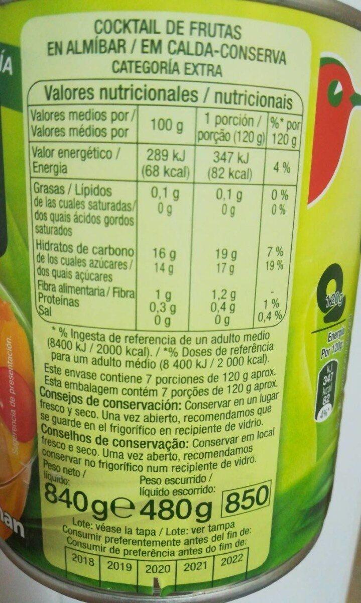 Cocktail de frutas en almíbar - Voedigswaarden