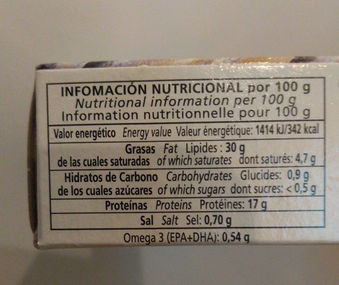Sardinillas - Nutrition facts - es