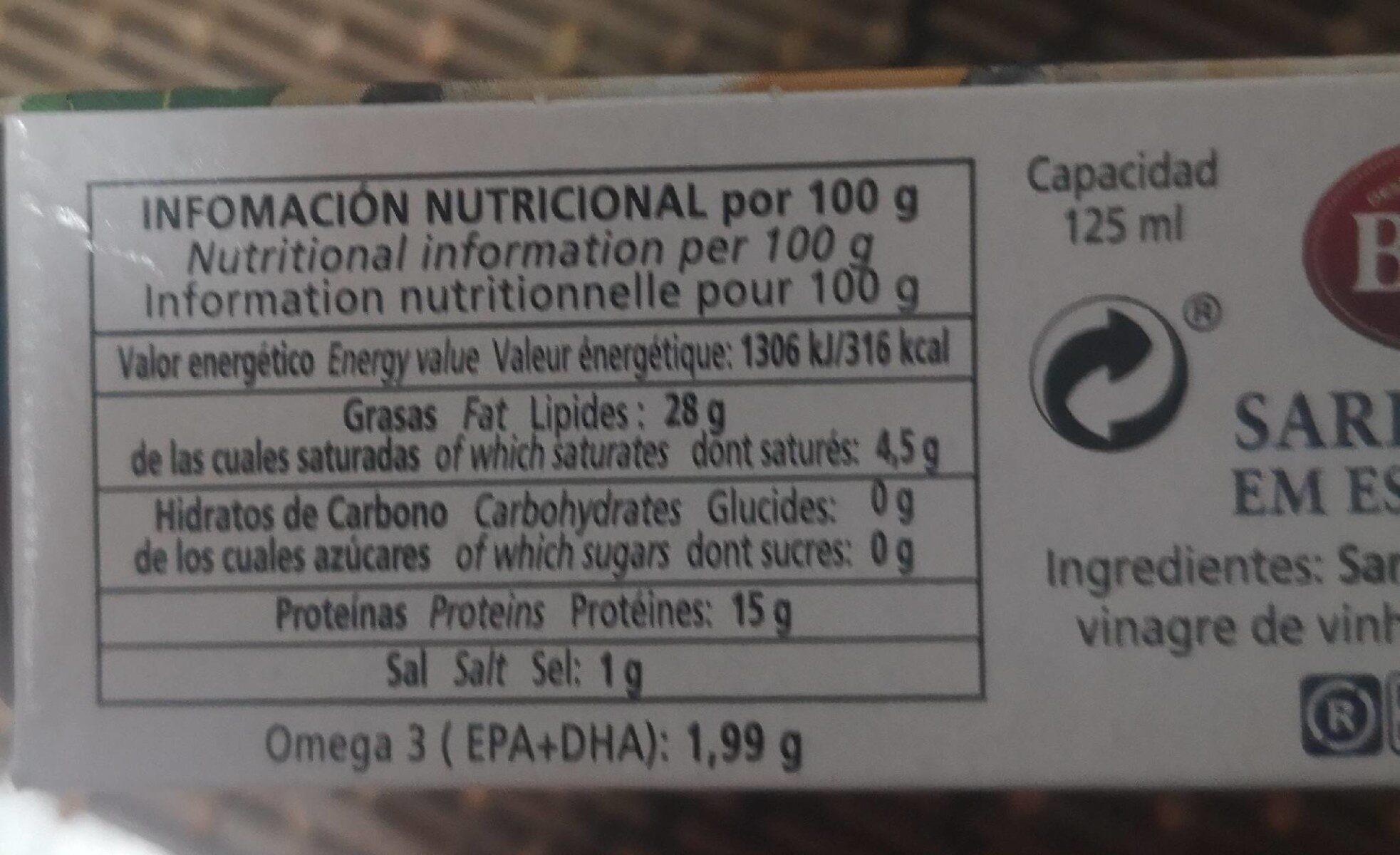 Sardinas de las rías gallegas en escabeche - Nutrition facts - es