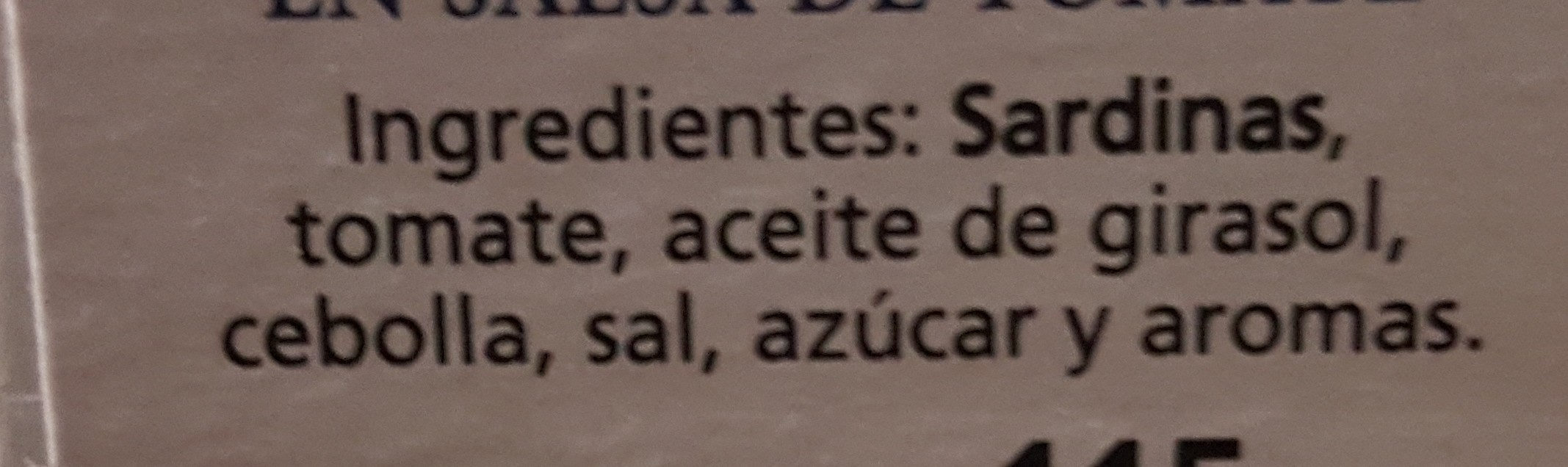 Sardinas en salsa de tomate - Ingredients - es