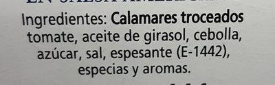 Calamares en salsa Americana - Ingrediënten - es