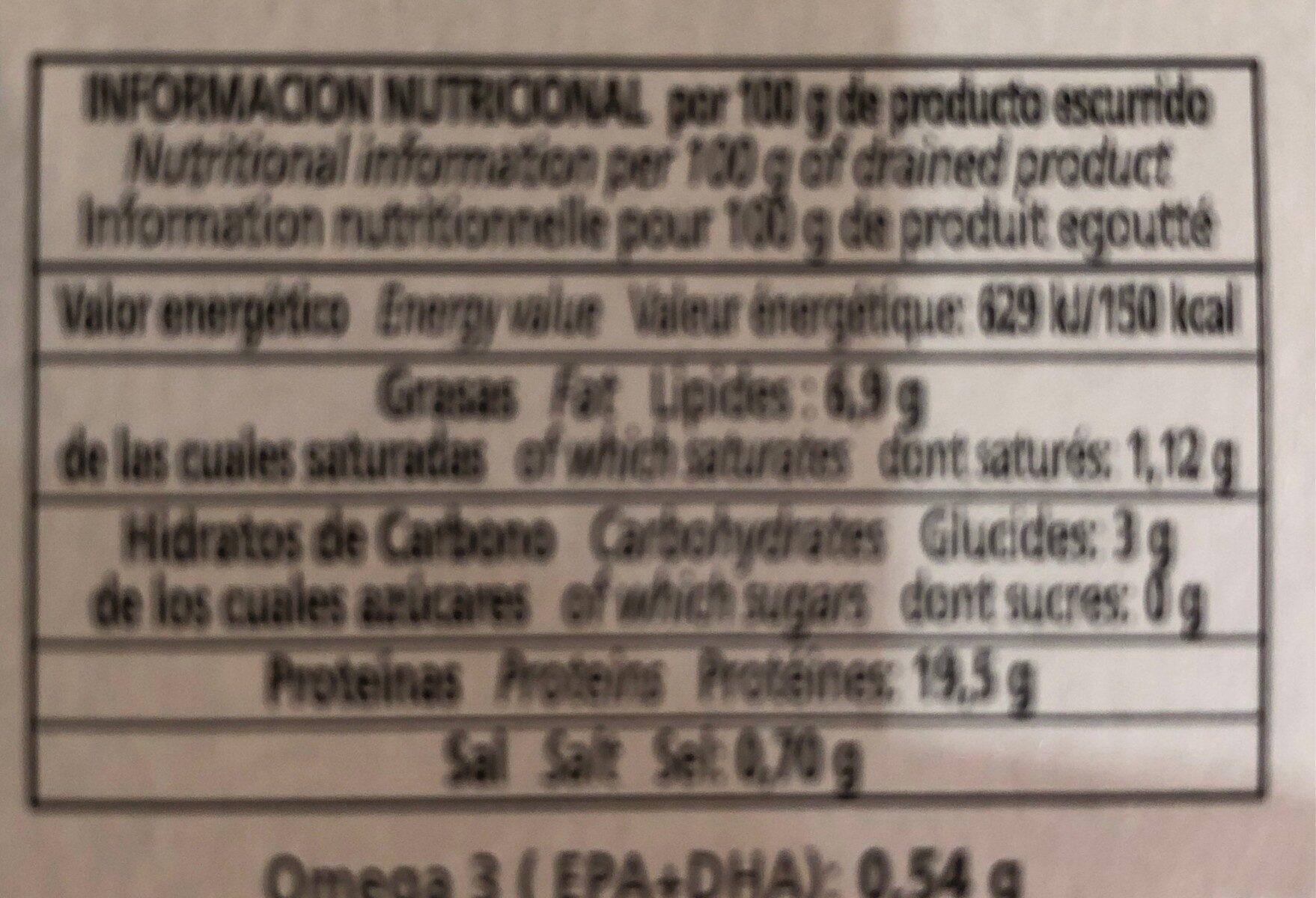 Mejillones del pacifico - Nutrition facts - es