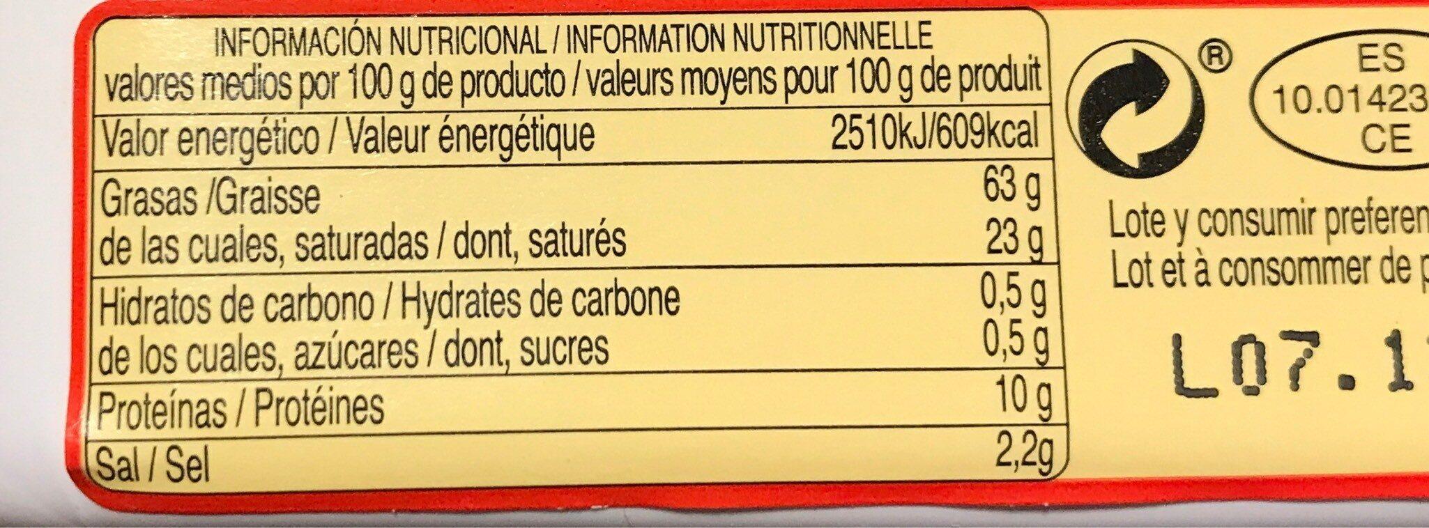 Sobrasada de Mallorca - Nutrition facts - fr