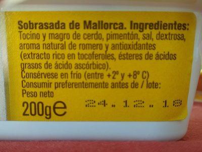 Sobrasada superfina de mallorca sin gluten tarrina - Ingrédients - es