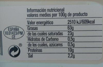 Sobrasada superfina de mallorca sin gluten tarrina - Informations nutritionnelles - es