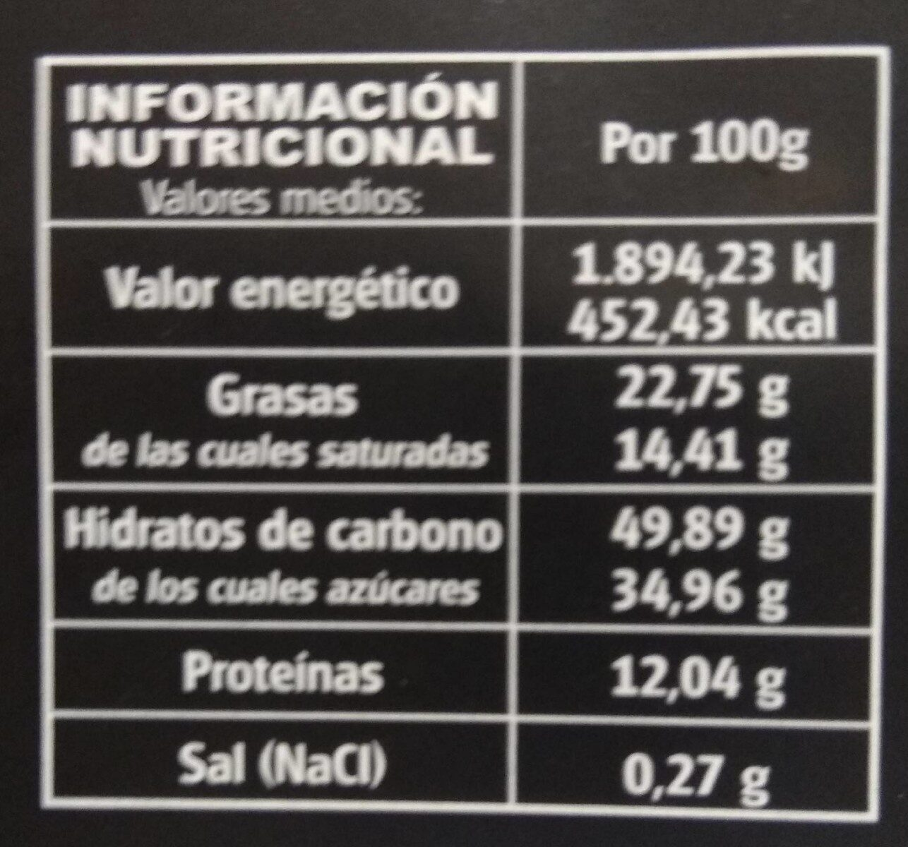 Chocolate Negro Alonso 70% - Información nutricional - es