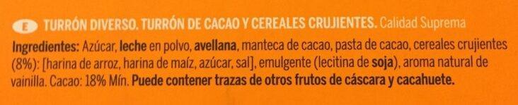 Turrón chocolate crujiente - Inhaltsstoffe - es