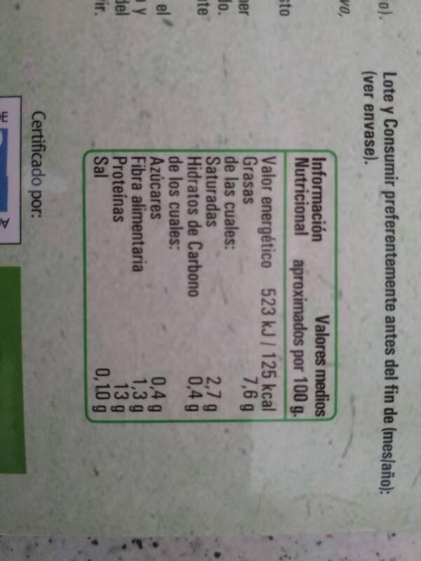 Tofu bio - Nutrition facts - es
