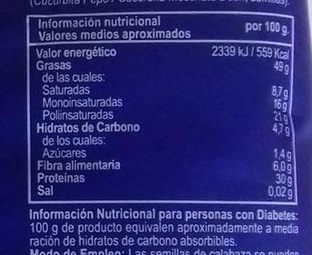 Semillas de calabaza - Informations nutritionnelles - es
