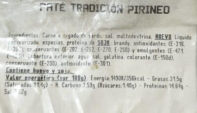 Paté Tradición Pirineo - Ingredients - es