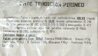 Paté Tradición Pirineo - Informació nutricional - es
