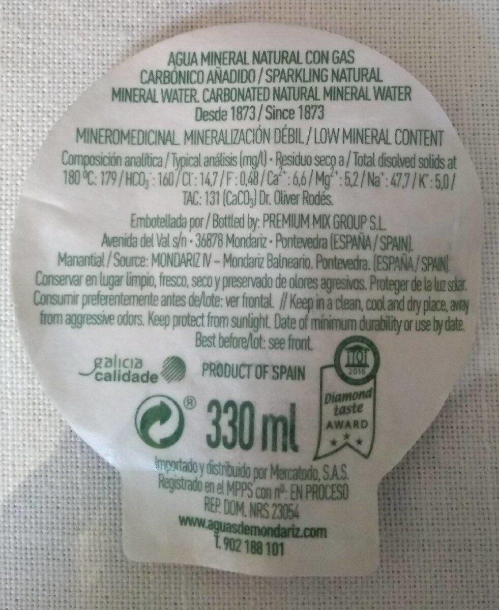 Mondariz Sparkling 0,33 l - Premium Wasser - Informations nutritionnelles - fr