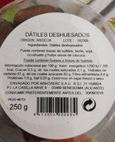 Dátiles deshuesados - Ingredients