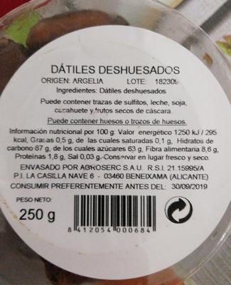 Dátiles deshuesados - Ingredientes