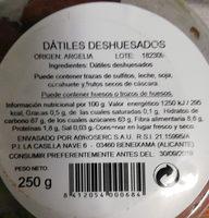 Dátiles deshuesados - Información nutricional