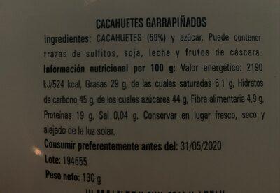 Cacahuetes Garrapiñados - Nutrition facts