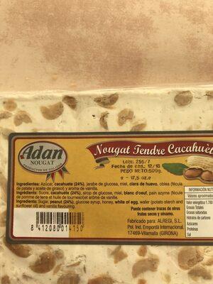 Nougat Tendre Cacahuète - Ingrediënten