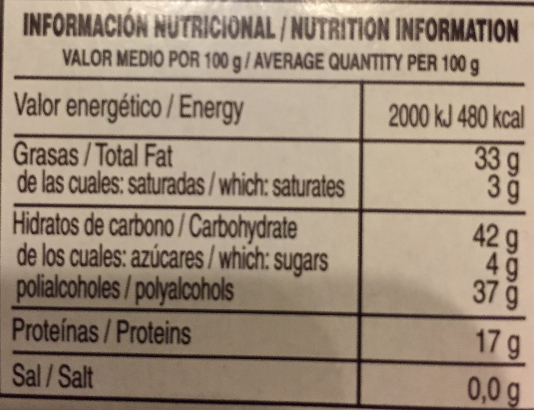 Turrón Imperial - Nutrition facts