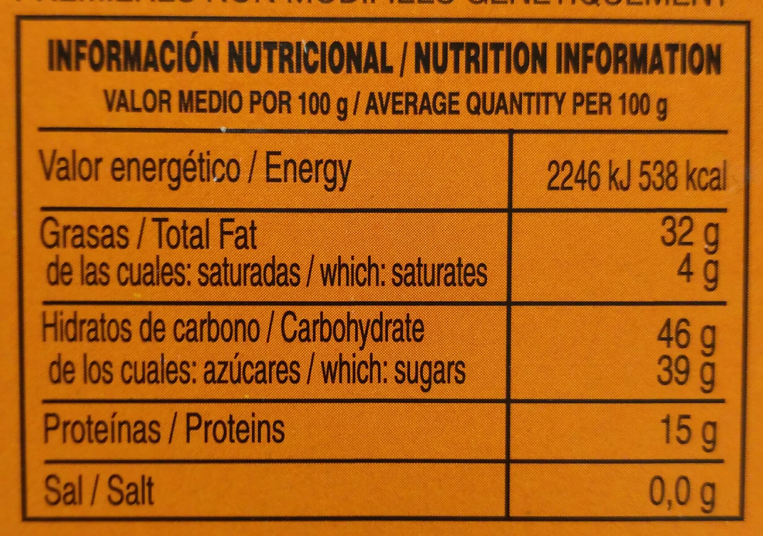 Turrón diverso de cacahuete - Información nutricional - es