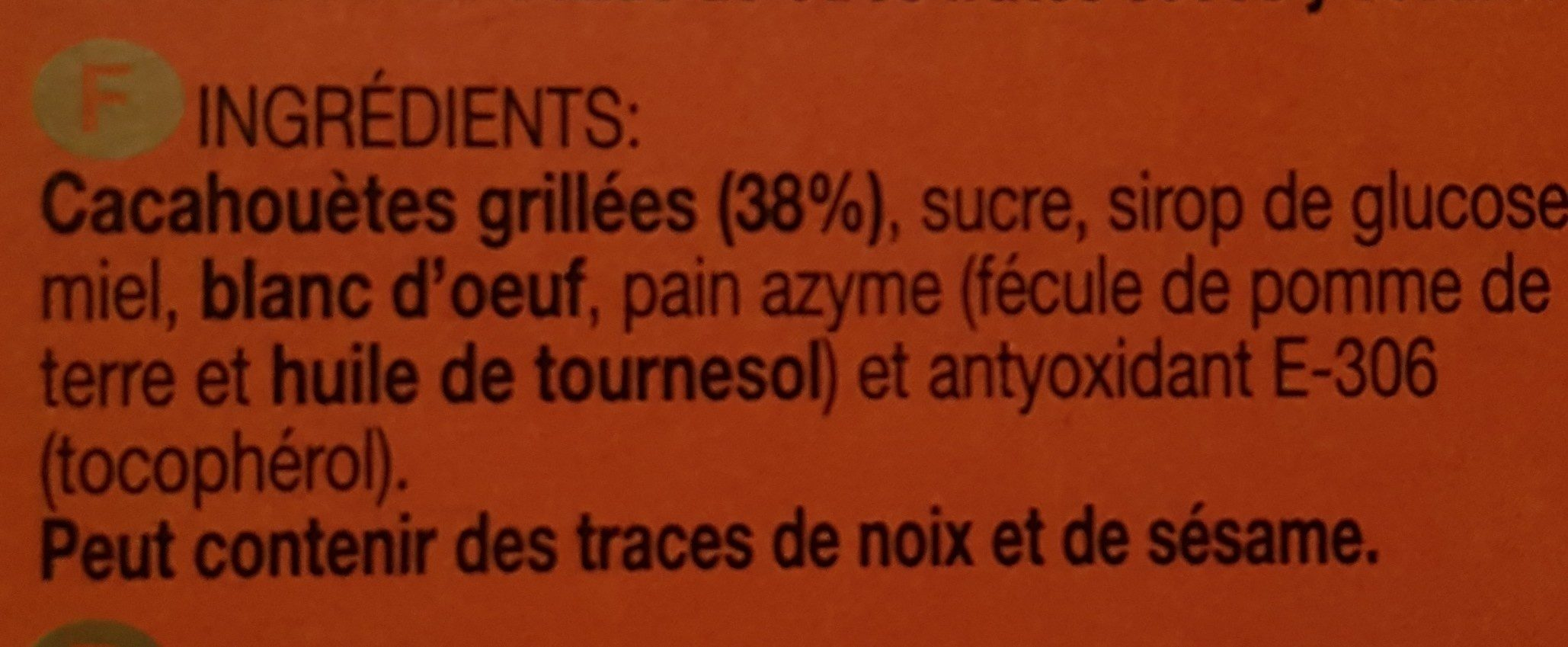 Turron diverso de cacahuete - Ingredientes - fr
