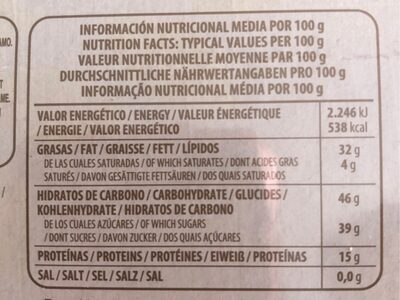 Turron blando de cacahuete - Nutrition facts