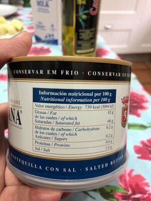 Mantequilla tradicional con sal - Informació nutricional