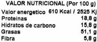 Almendras crudas sin piel - Información nutricional